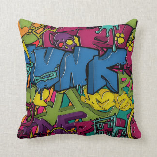 Colorful, funky and Urban Graffiti art Pillow