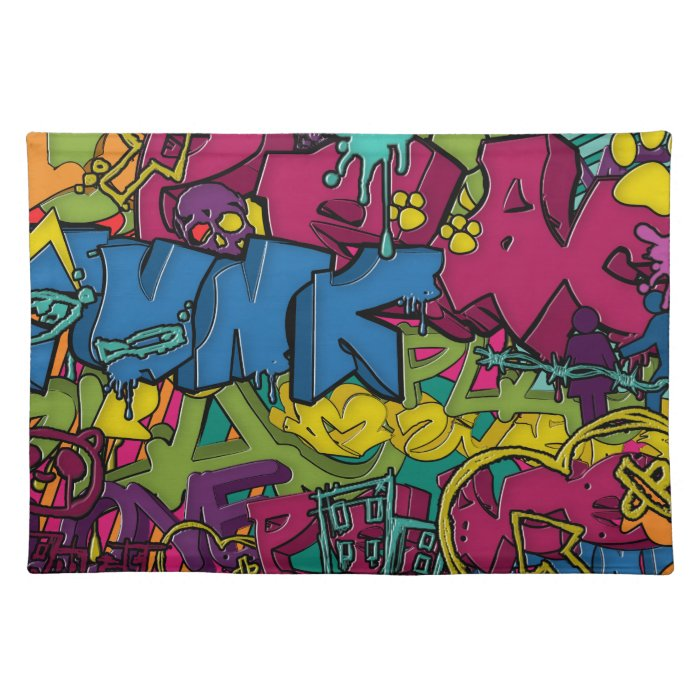 Colorful, funky and Urban Graffiti art Placemat