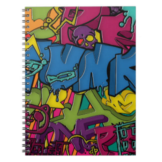 Colorful, funky and Urban Graffiti art Spiral Notebook