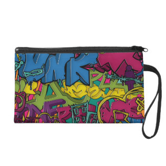 Colorful, funky and Urban Graffiti art Wristlet