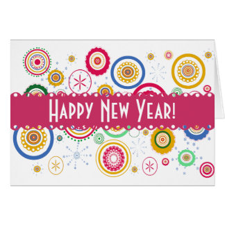 Colorful Funky Circles Greeting Card