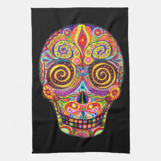 Colorful Funky Day of the Dead Kitchen Towel