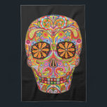 """Colorful Funky Day of the Dead Kitchen Towel<br><div class=""""desc"""">This Colorful Funky Day of the Dead Kitchen Towel features a colorful psychedelic calavera sugar skull celebrating Mexico&#39;s Day of the Dead,  or Dia de los Muertos. The funky design for this Sugar Skull Kitchen Towel is based on the artwork of Thaneeya McArdle.</div>"""