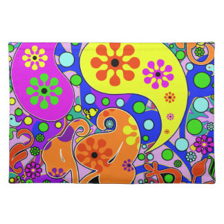 Colorful Funky Flowers And Paisleys Placemats