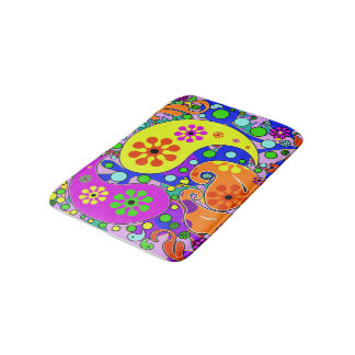 Colorful Funky Flowers Retro Paisley Hippie Bath Mat