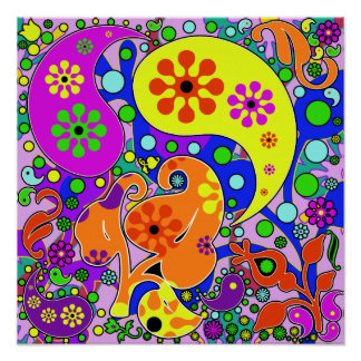 Colorful Funky Flowers Retro Paisley Hippie Poster