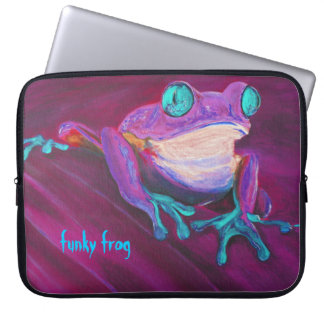 Colorful funky frog laptop sleeve