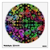 Colorful Funky Paisley Pattern. Wall Sticker