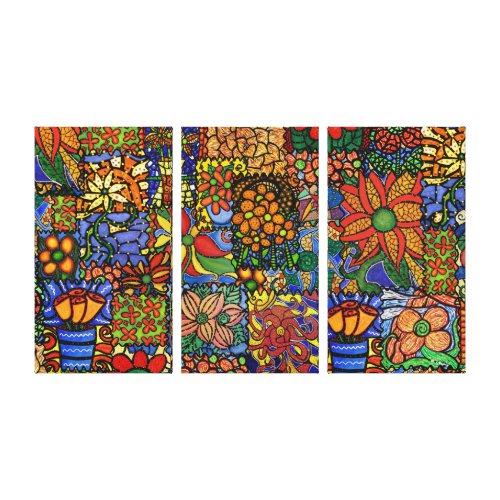 Colorful Funky Patchwork Pattern Canvas Wall Art