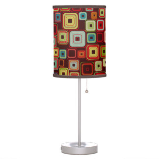 Colorful Funky Retro Squares on Brown Background Table Lamp