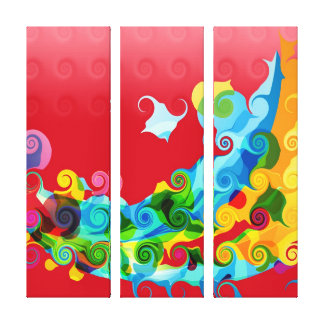 Colorful Funky Retro Swirl Painting Abstract Art Canvas Print