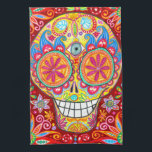 """Colorful Funky Sugar Skull Kitchen Towel<br><div class=""""desc"""">This Colorful Funky Sugar Skull Kitchen Towel features a colorful psychedelic calavera sugar skull celebrating Mexico&#39;s Day of the Dead,  or Dia de los Muertos. The funky design for this Sugar Skull Kitchen Towel is based on the artwork of Thaneeya McArdle.</div>"""