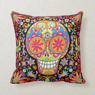 Colorful Funky Sugar Skull Pillow