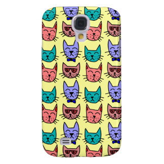 Colorful Funny Cartoon Cat Face Pattern on Yellow Samsung Galaxy S4 Case