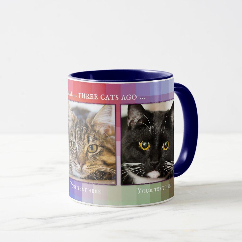 Colorful Funny Cats Custom Photo Mug