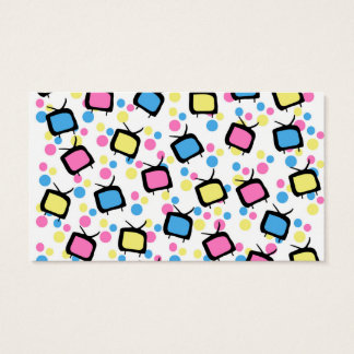 Colorful Funny Cute Silly TV & Polka Dot Pattern Business Card