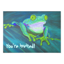 Colorful funny funky frog kids birthday Invites
