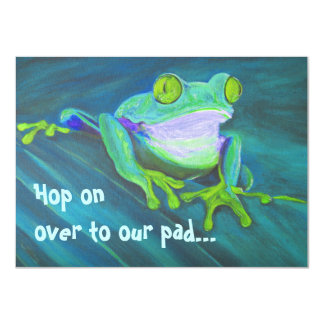 Colorful funny funky frog party Invites