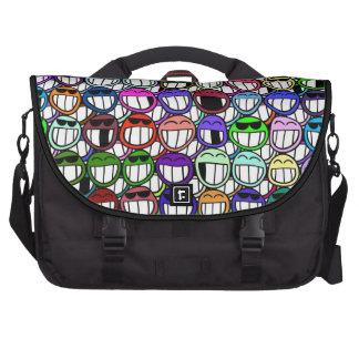 Colorful Funny Grinning Smiley Face Cartoon Art Laptop Messenger Bag