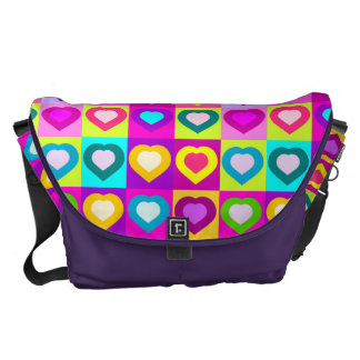 colorful funny hearts,POP ART STYLE Messenger Bag