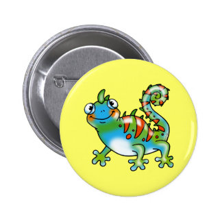 Colorful funny lizard pinback button