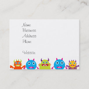 Funny business cards templates zazzle colorful funny monster party creatures bash business card colourmoves