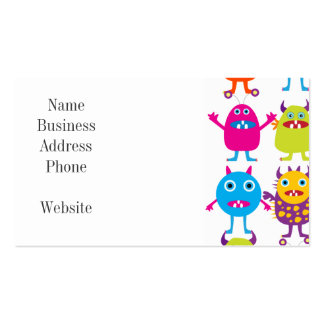 Colorful Funny Monster Party Creatures Bash Double-Sided Standard Business Cards (Pack Of 100)