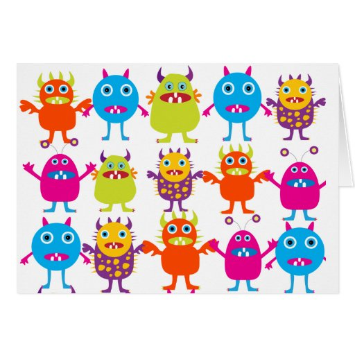 Colorful Funny Monster Party Creatures Bash Greeting Cards