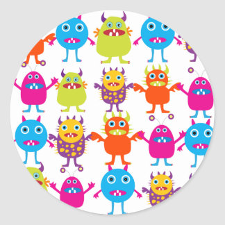 Colorful Funny Monster Party Creatures Bash Classic Round Sticker