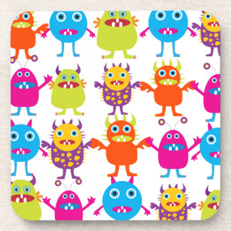 Colorful Funny Monster Party Creatures Bash Drink Coaster