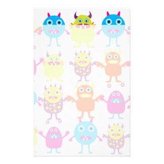 Colorful Funny Monster Party Creatures Bash Stationery