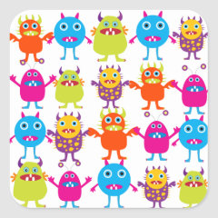 Colorful Funny Monster Party Creatures Bash Square Stickers