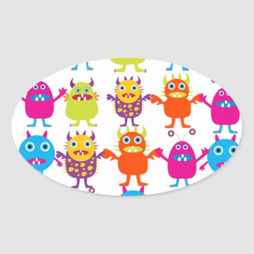 Colorful Funny Monster Party Creatures Bash Sticker
