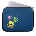 Colorful funny octopi laptop computer sleeve