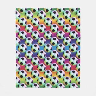 Colorful Funny Soccer Balls Pattern Fleece Blanket