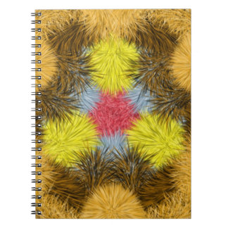 Colorful furry kaleidoscope spiral note books