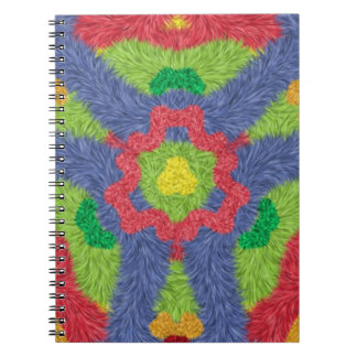 Colorful furry pattern spiral note book