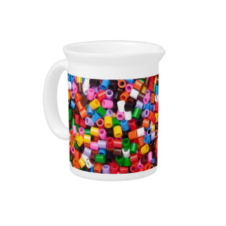 Colorful fusible plastic beads drink pitcher