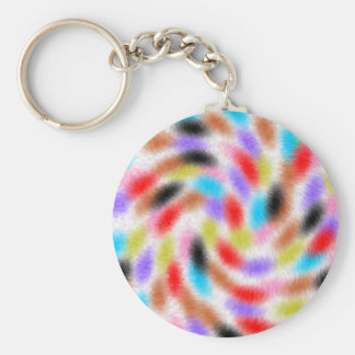 Colorful fussy basic round button keychain