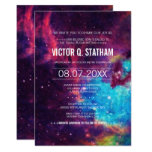 Colorful Galaxy Bar Mitzvah Party Invite at Zazzle