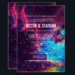 """Colorful Galaxy Bar Mitzvah Party Invite<br><div class=""""desc"""">Your story is written among the stars... a galaxy themed bar mitzvah party  invite that is sure to catch everyone's eye! Text details are customizable and are over a space background in purple,  pink,  blue,  yellow,  and white.</div>"""