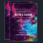 "Colorful Galaxy Bar Mitzvah Party Invite<br><div class=""desc"">Your story is written among the stars... a galaxy themed bar mitzvah party  invite that is sure to catch everyone's eye! Text details are customizable and are over a space background in purple,  pink,  blue,  yellow,  and white.</div>"
