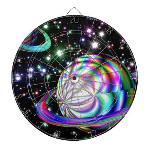 colorful galaxy dartboard with darts