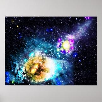 Colorful galaxy space nebula stars illustration poster