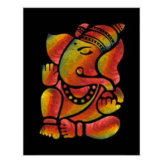 Colorful Ganesha Painting Poster