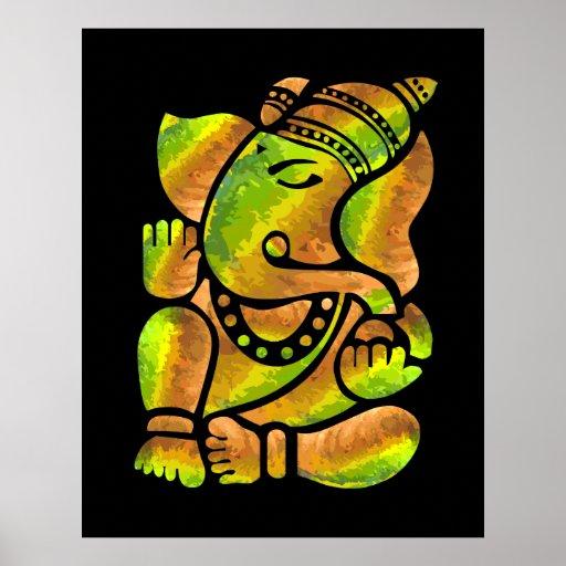 Colorful Ganesha Painting Poster