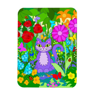Colorful Garden Cat Art Fantasy Flowers Ladybugs Magnet