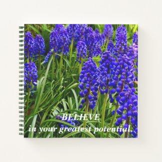Colorful garden flowers. Grape Hyacinth. Believe. Notebook
