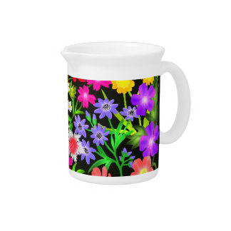 Colorful Garden Flowers Pitcher