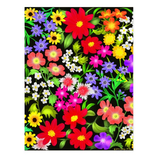 Colorful Garden Flowers Postcard